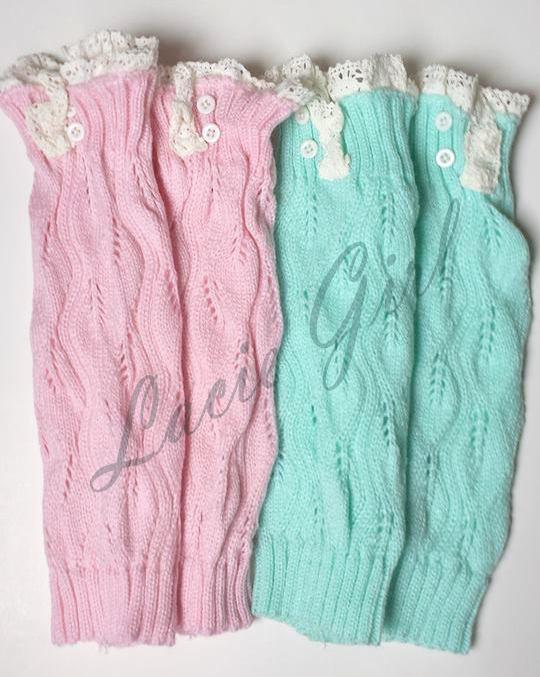 Mint Crochet Lace Knit Boot Socks