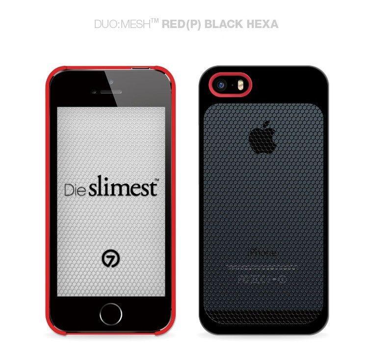 7mm DieSlimest DUOMESH Red Hexa Black IPhone 5 5S Premium Case