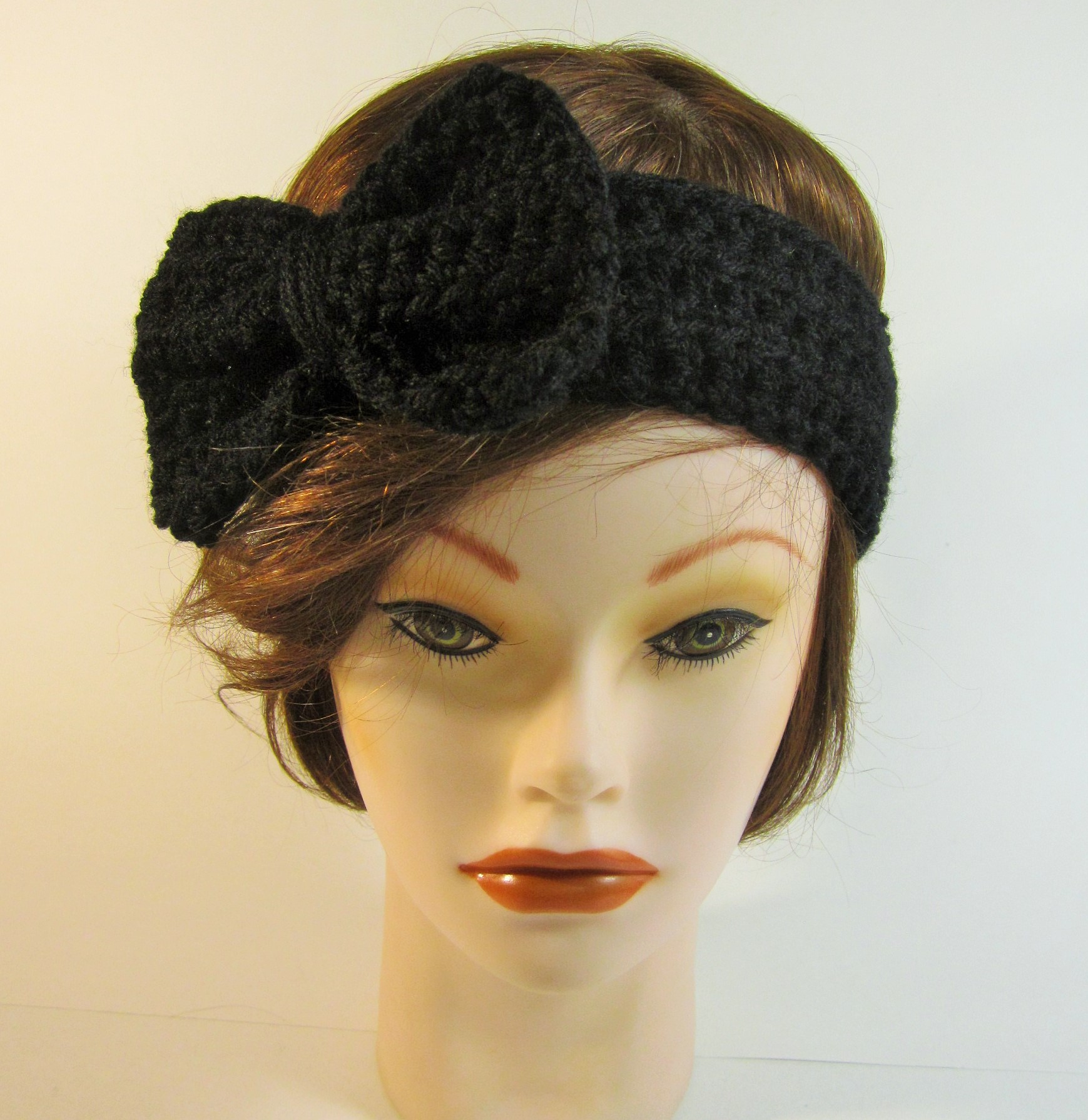 Crochet Bow Headband Black On Storenvy