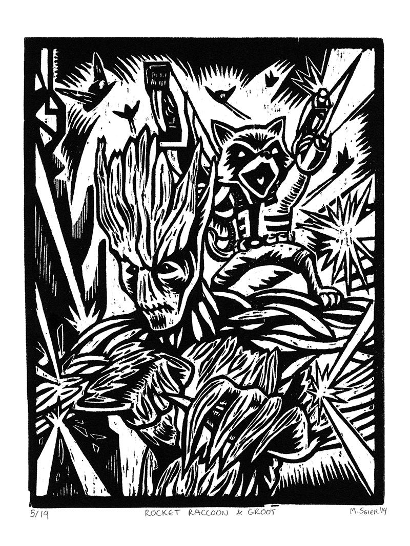 Rocket Raccoon Amp Groot Woodcut Relief Print On Storenvy