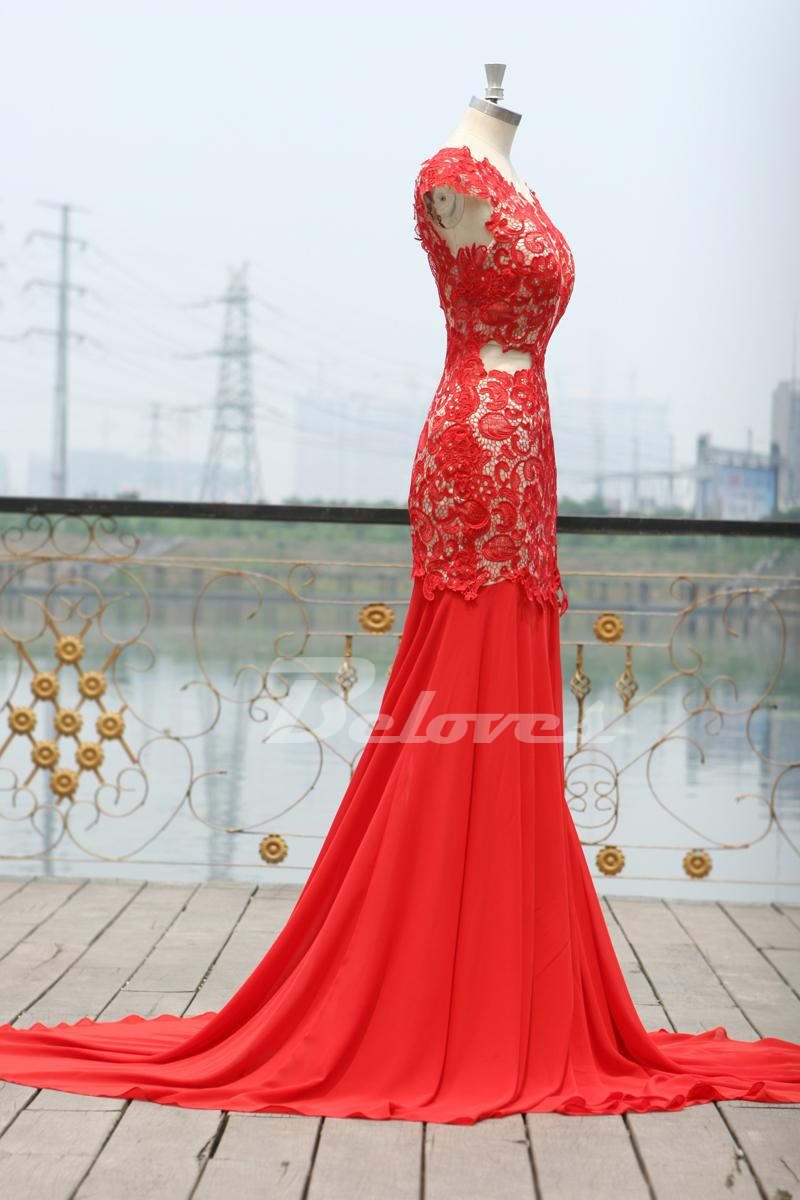 Red Lace Cap Sleeves Mermaid Prom Dress With Open Back ...
