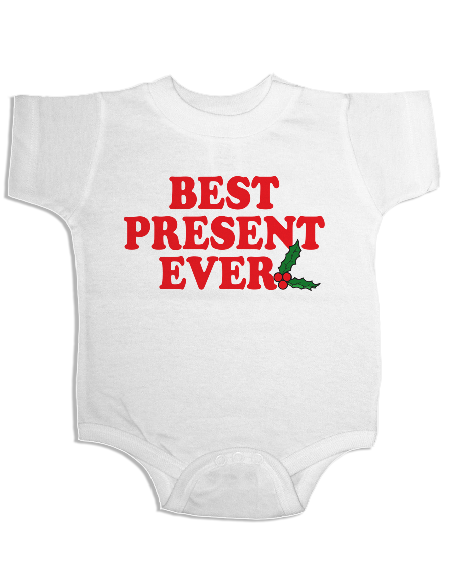 CHRISTMAS ONESIE BEST PRESENT EVER FUNNY BABY ONESIE HOLIDAY ONESIE  CHRISTMAS HOLIDAYSHOPPING BABY SHOWER GIFTS CHRISTMAS GIFTS