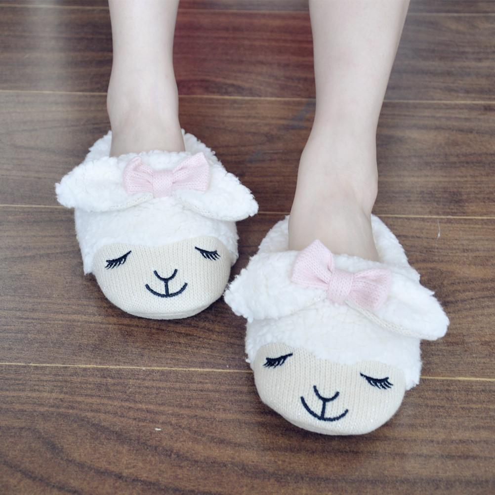 be838429b79 ... Women s Bowtie Sheep Shape Faux Fur White Slippers S101402 - Thumbnail  ...