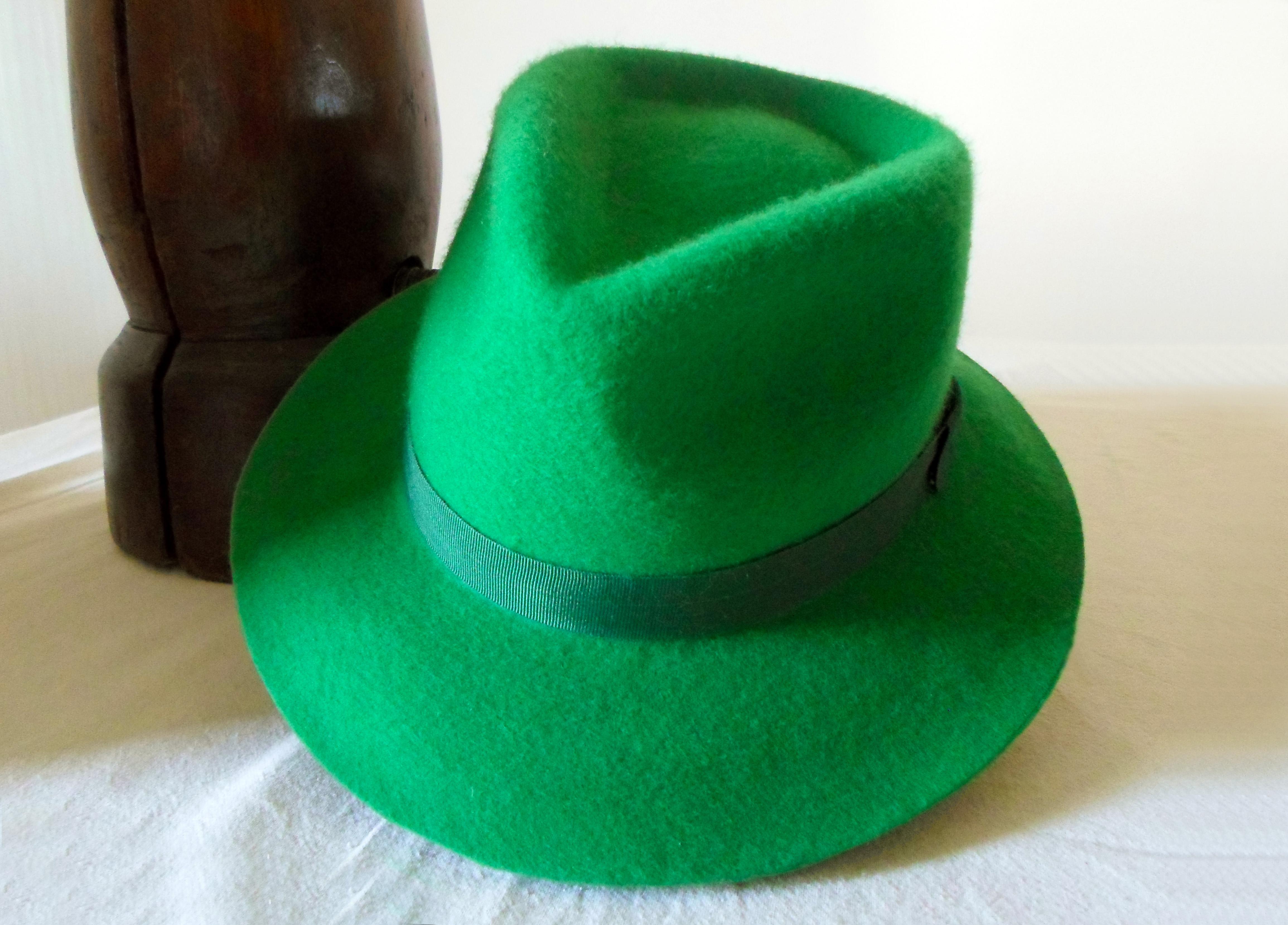 d126666276 Green Wool Felt Fedora - Wide Brim Merino Wool Felt Handmade Fedora ...