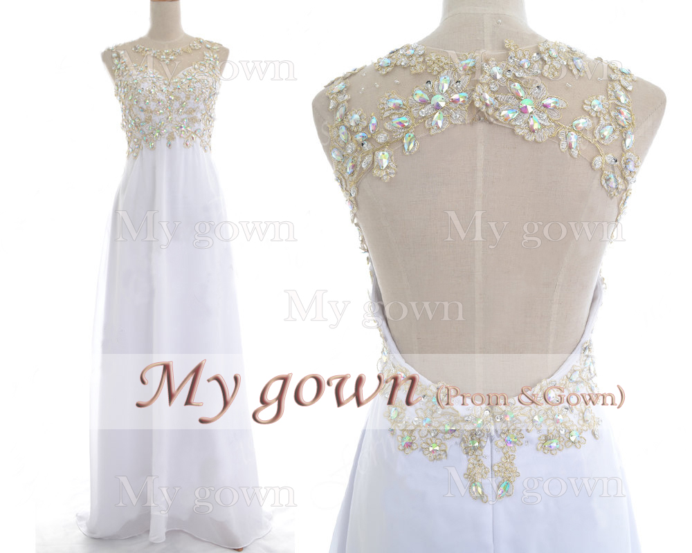 White applique beaded prom dress wedding dress prom gown formal