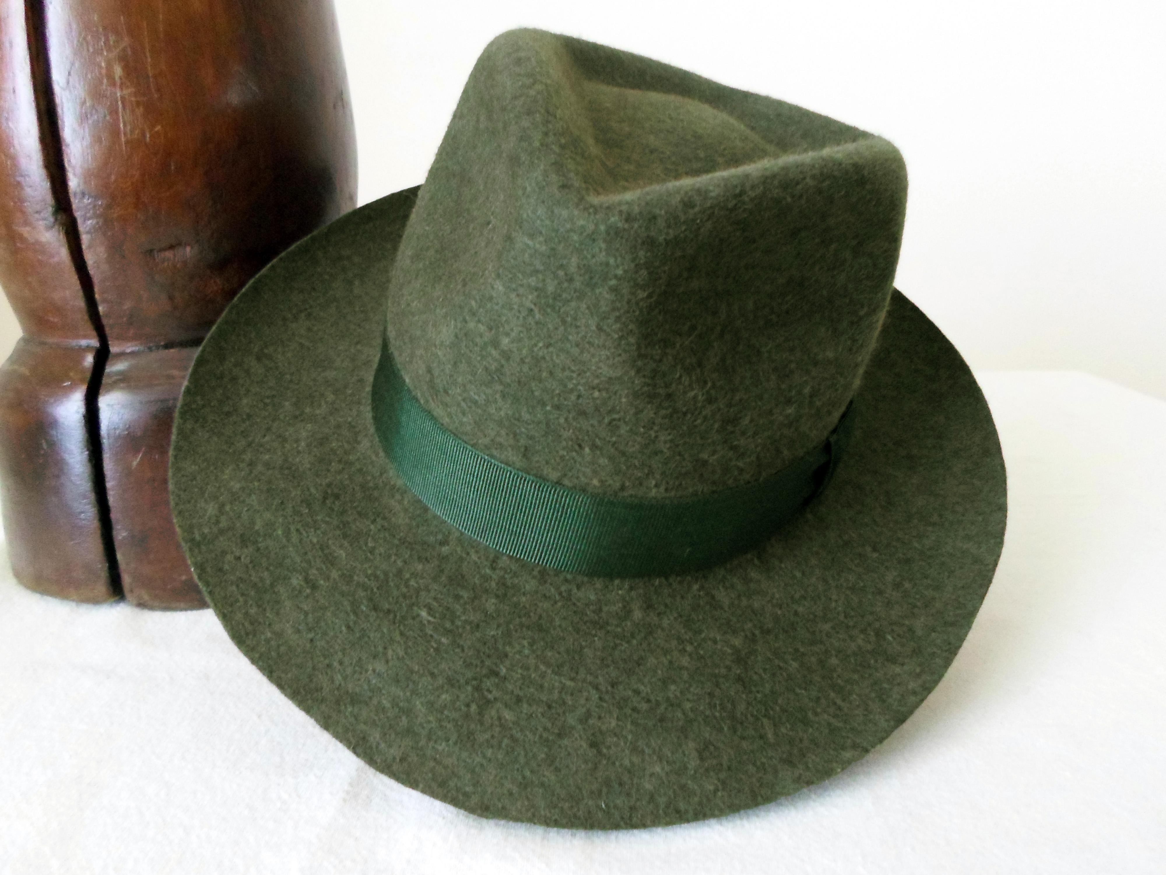 ad24c81ea8 Dark Green Wool Felt Fedora - Wide Brim Pure Wool Felt Handmade Fedora Hat  - Men Women