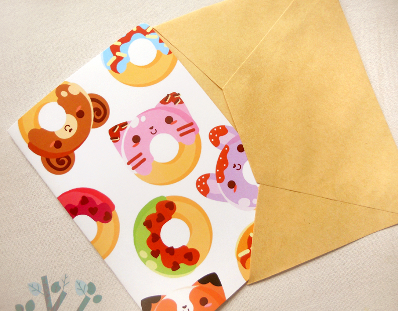 Kawaii Colorful Donuts 4x6 Notecard Cute Animal Doughnuts