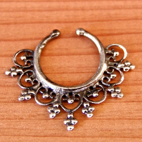 Oxidized Silver Septum For Non Pierced Nose Nose Jewelry