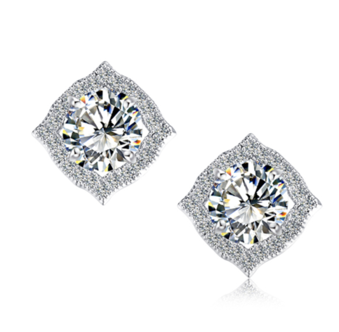 Fine Jewelry Collection Round Diamond Square Earrings