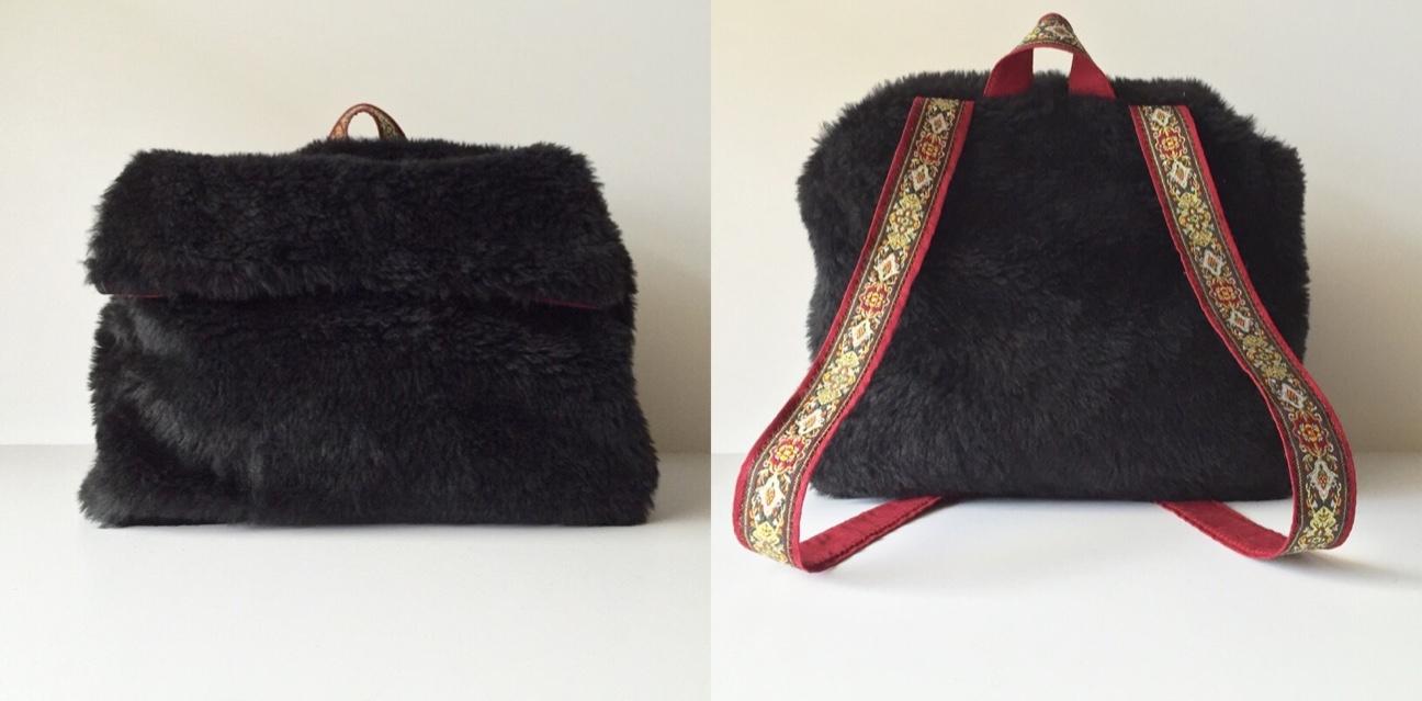 97f0d7a47206 Retro Handmade Plush Black Fur Mini Backpack on Storenvy