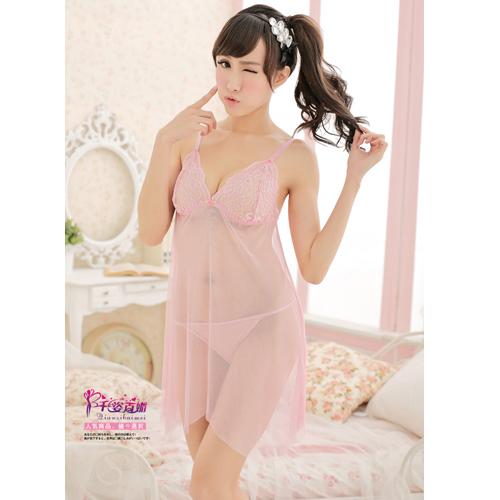e888d9116c7e Hot Charming Sexy Lace Sheer Pajamas Sleepwear - Pink + free ...