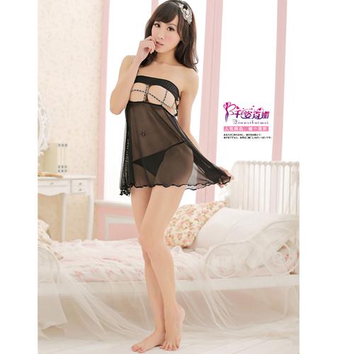 1aba6d763c4a Hot Charming Sexy Lace Sheer Pajamas Sleepwear - Black + free ...