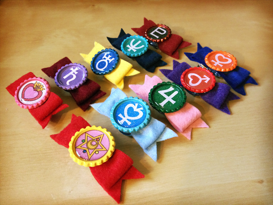 Sailor Senshi Felt Hair Bow Clip Clothes Brooch Dual Use