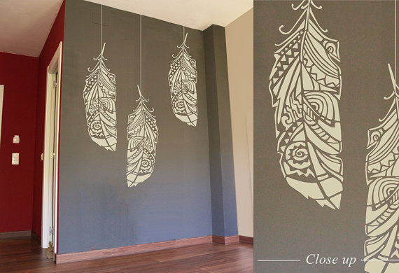 Forest Feathers, Large Decorative Scandinavian Wall Stencil for DIY  project, Tribal Pattern Wallpaper look and Home Decor, Bohemian Wall