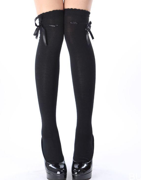 2a508d99479 black ribbon threaded bow over the knee high socks kawaii stockings OTKs gothic  lolita gyaru