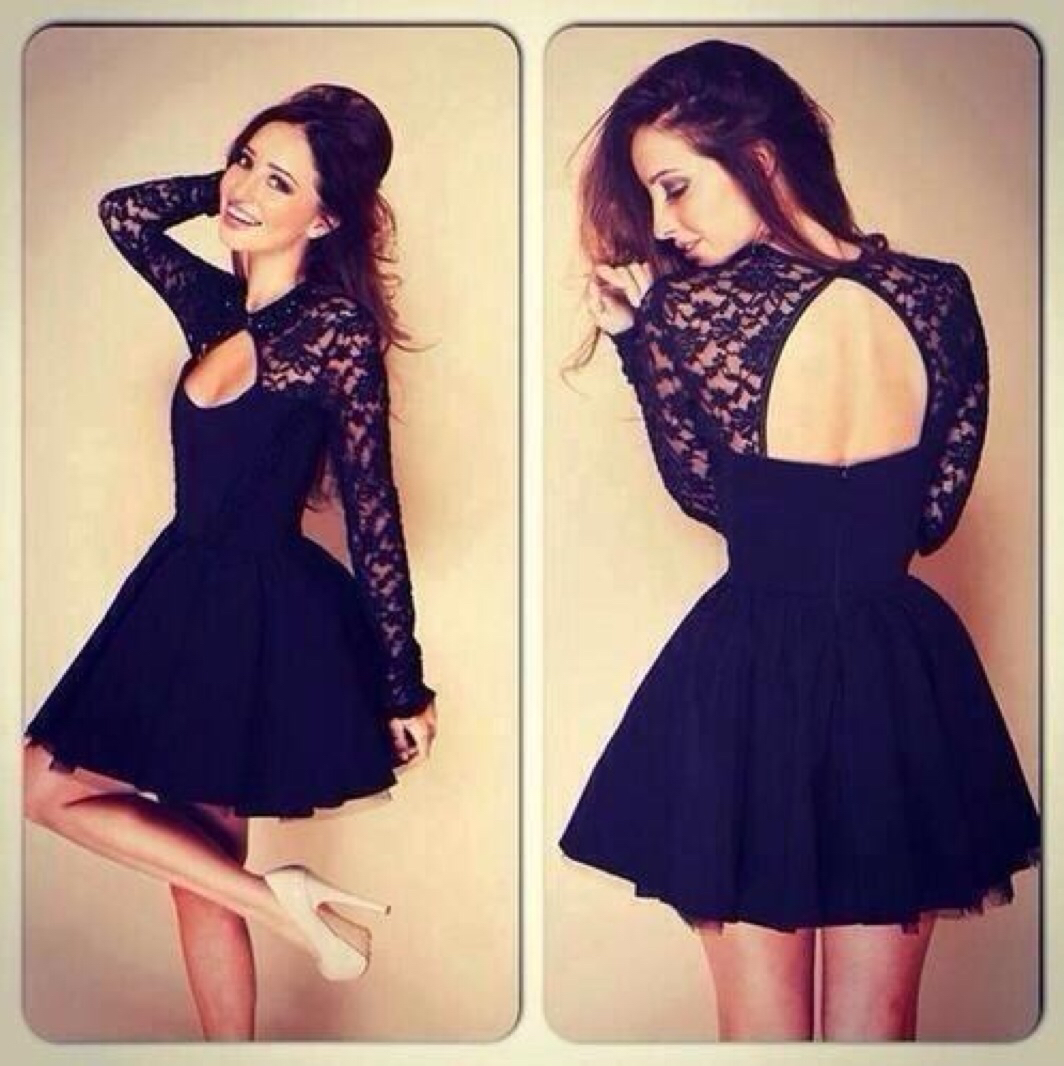 c22feab68cf Black Long Sleeves Cocktail Dress With Keyhole Back · Beloves ...