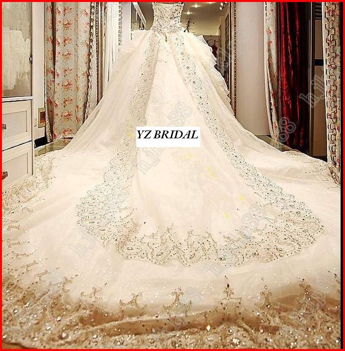 YZ Luxury Crystal Bright Sexy Beautiful Dream Wedding Dress On