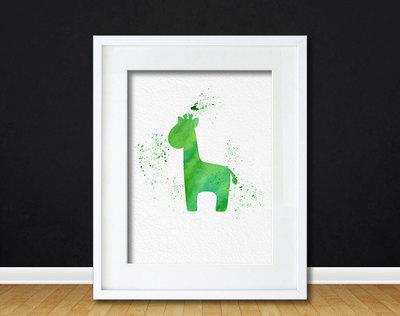 Watercolor Art Gift Modern 8x10 Wall Art Decor Baby Giraffe Print ...