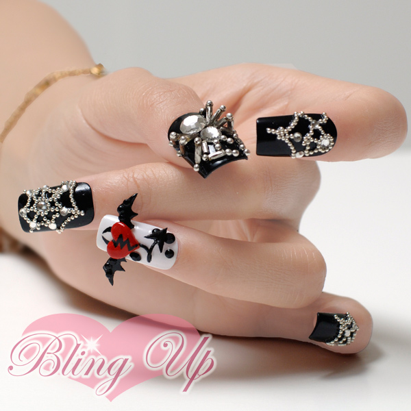 Bling Up Inc Halloween Gothic Lolita Black 3d Nail Art With Bats