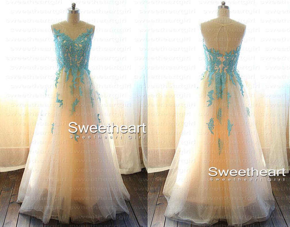 Sweetheart Girl | A-line Blue Lace Long Prom Dress, Blue Prom Dress ...