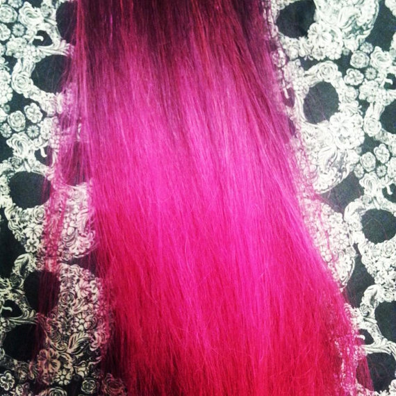 Magenta To Hot Pink Ombre 100 Human Hair Extensions 18 Inches Clip
