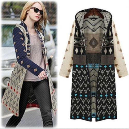 1688b459ed4 Geometric long hooded knitted cardigan sweater