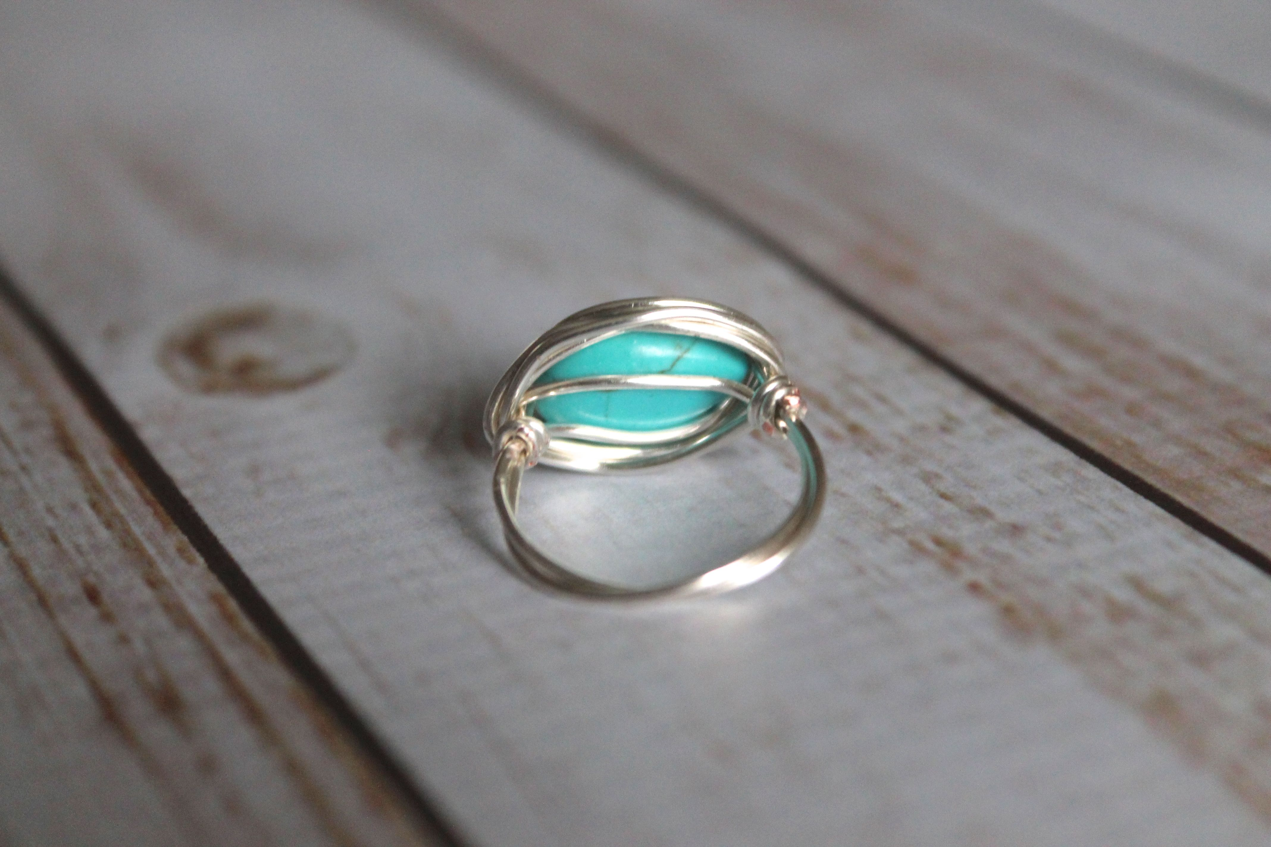Popular Turquoise Teardrop Magnesite Silver Ring | Wire Wrapped Ring  XN76