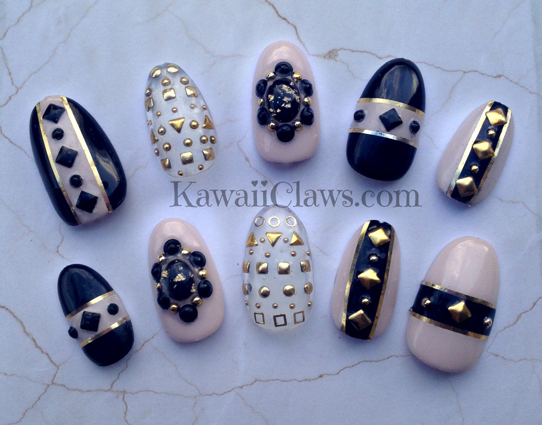Kawaii Claws Black Nude Studded 3d Nail Art False Fake Nails