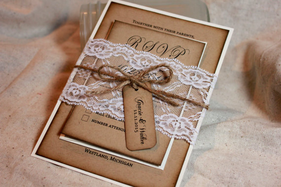 Rustic Photo Wedding Invitations: Rustic Kraft And Lace Wedding Invitations On Storenvy