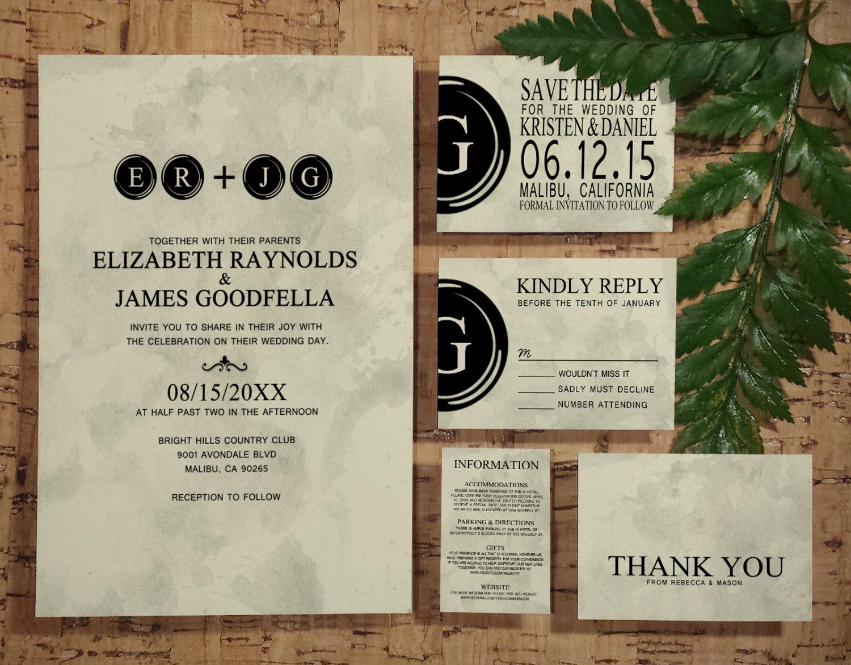 Printable Typewriter Keys Wedding Invitations Set Suite Invites