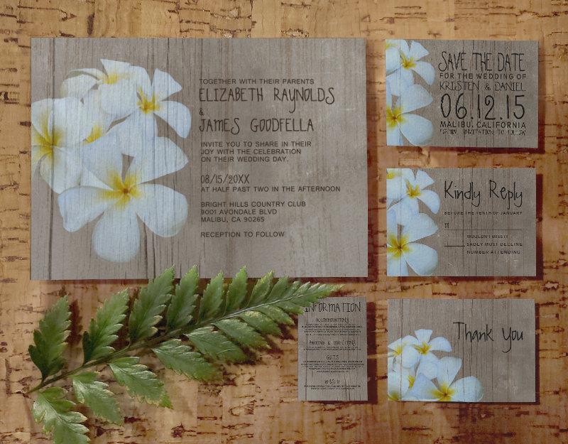 printable rustic plumeria wedding invitations set suite invites