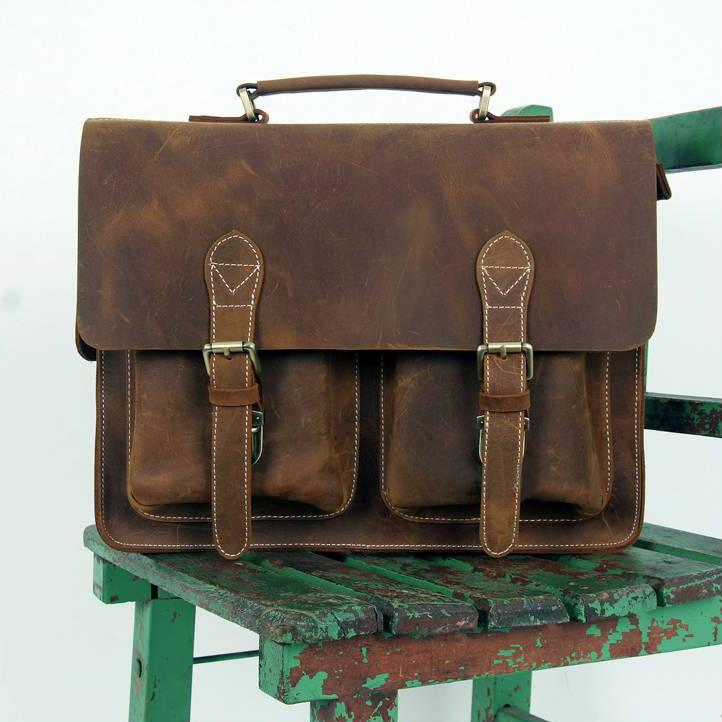 Large Handmade Vintage Leather Briefcase   Leather Messenger Bag   13