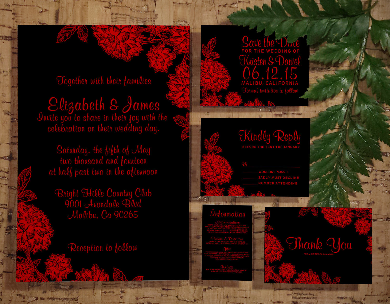 Printable Elegant Black Red Wedding Invitations Set Suite Invites