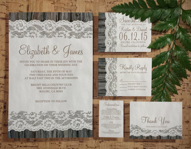 printable western tree bark wedding invitations set suite invites
