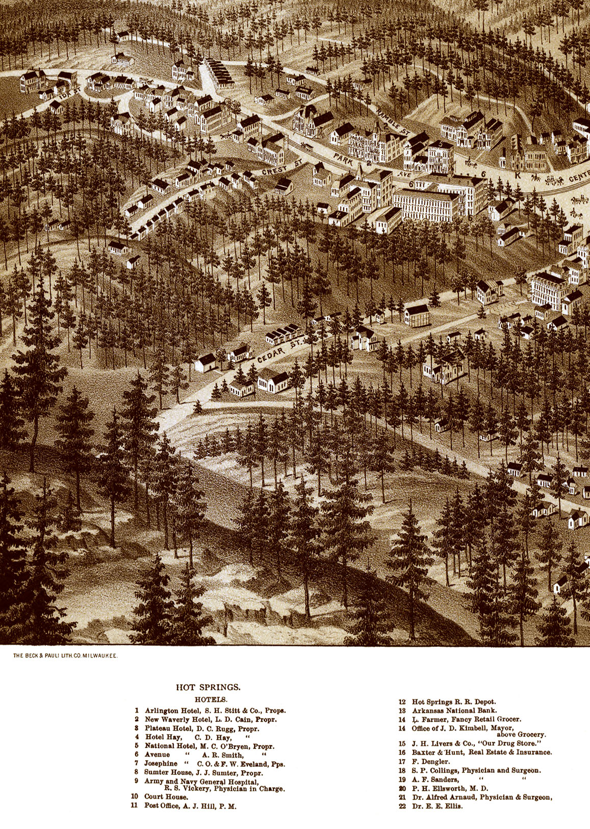 Hot Springs AR In Birds Eye View Map Aerial Map Panorama - Vintage milwaukee map