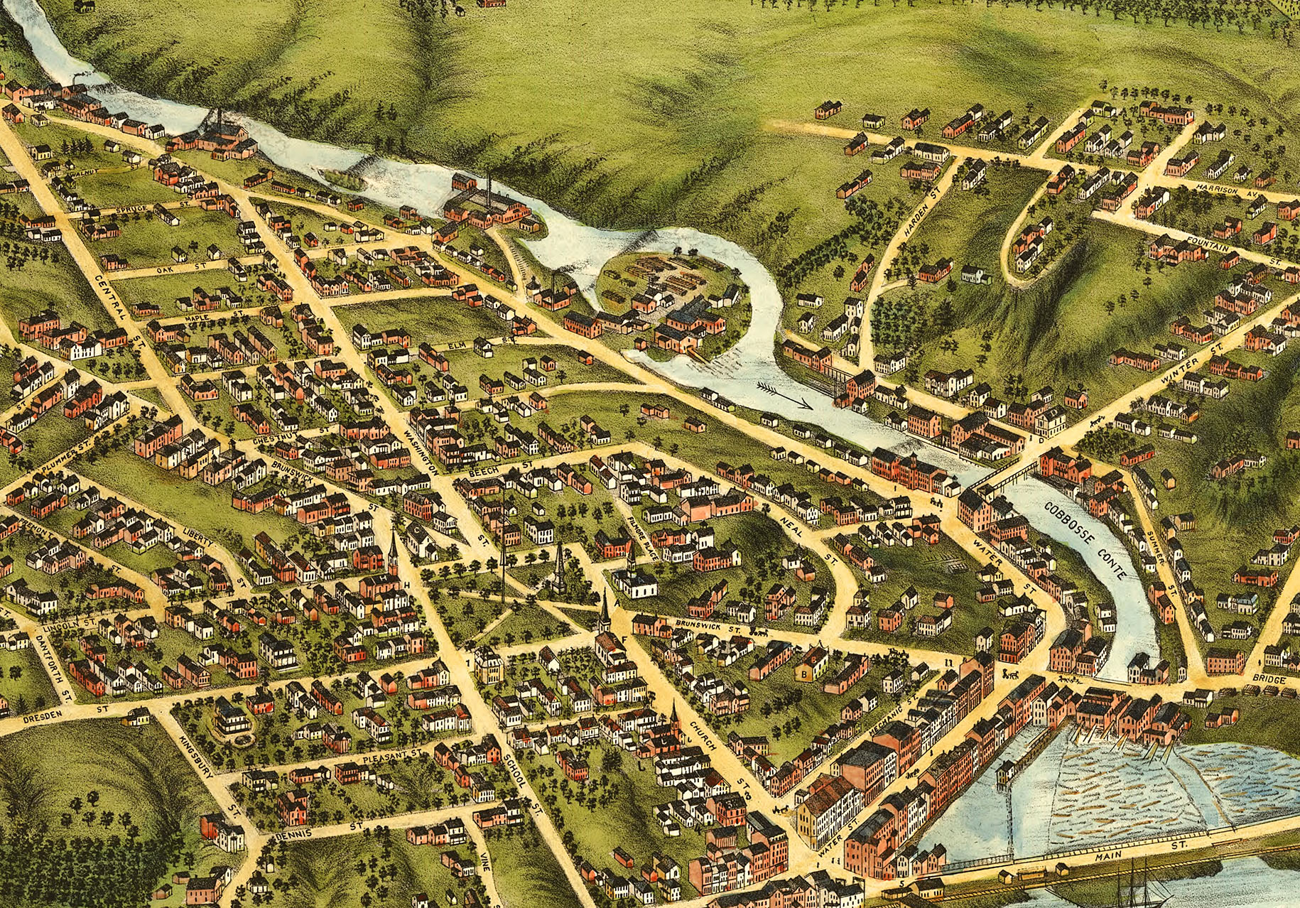 Gardiner and Pittston, Maine in 1878 - Bird's Eye View Map, Aerial on