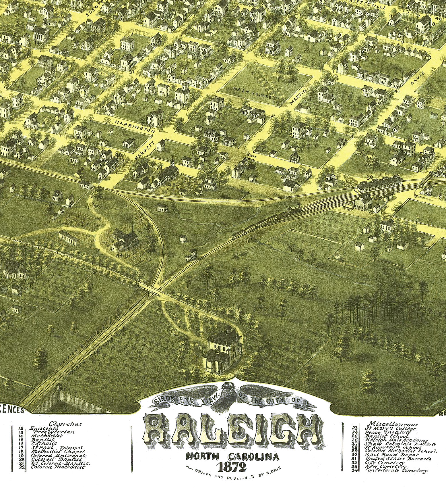18x24 1872 Raleigh North Carolina Vintage Old Panoramic City Map