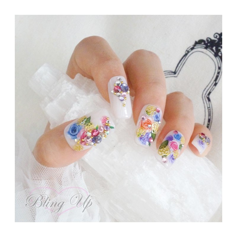 Colorful Vintage Roses 3d Bling Nail Art With Gold Accents And Swarovksi Crystals
