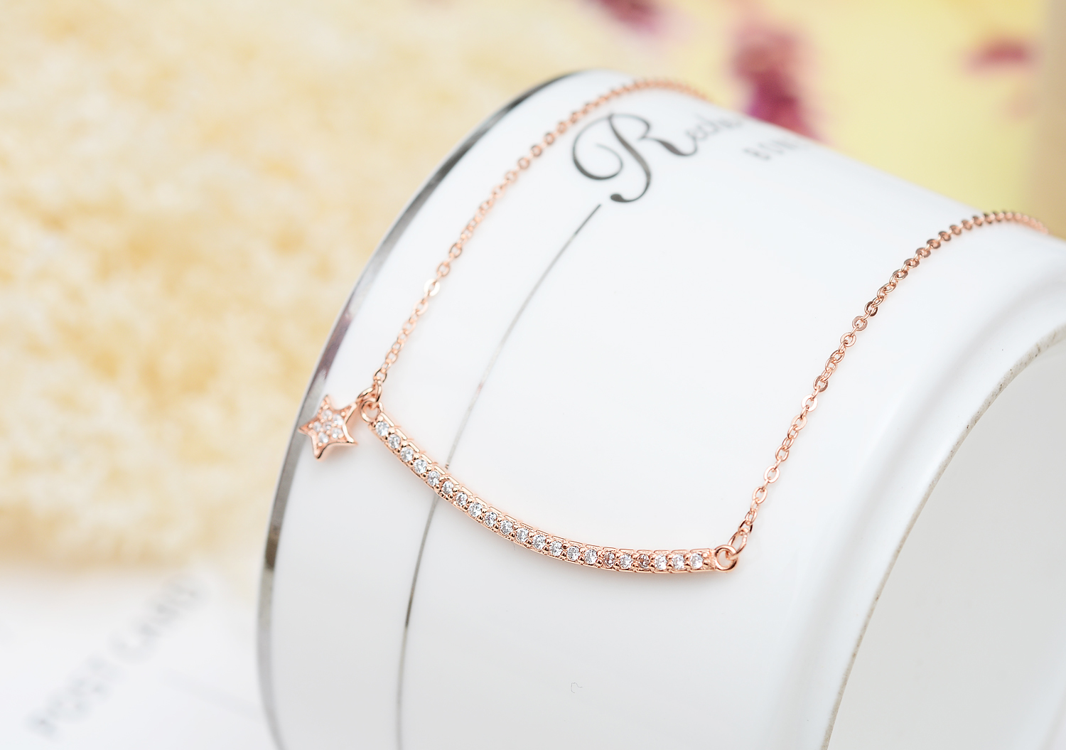 Sterling Silver Rose Gold Plated Row Diamante Curved Bar ...