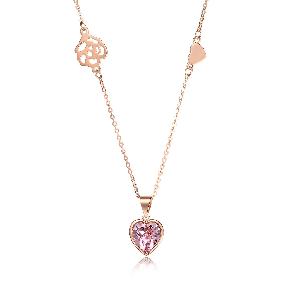 Google Chicute Sterling Silver Rose Gold Plated Pink Crystal Peach