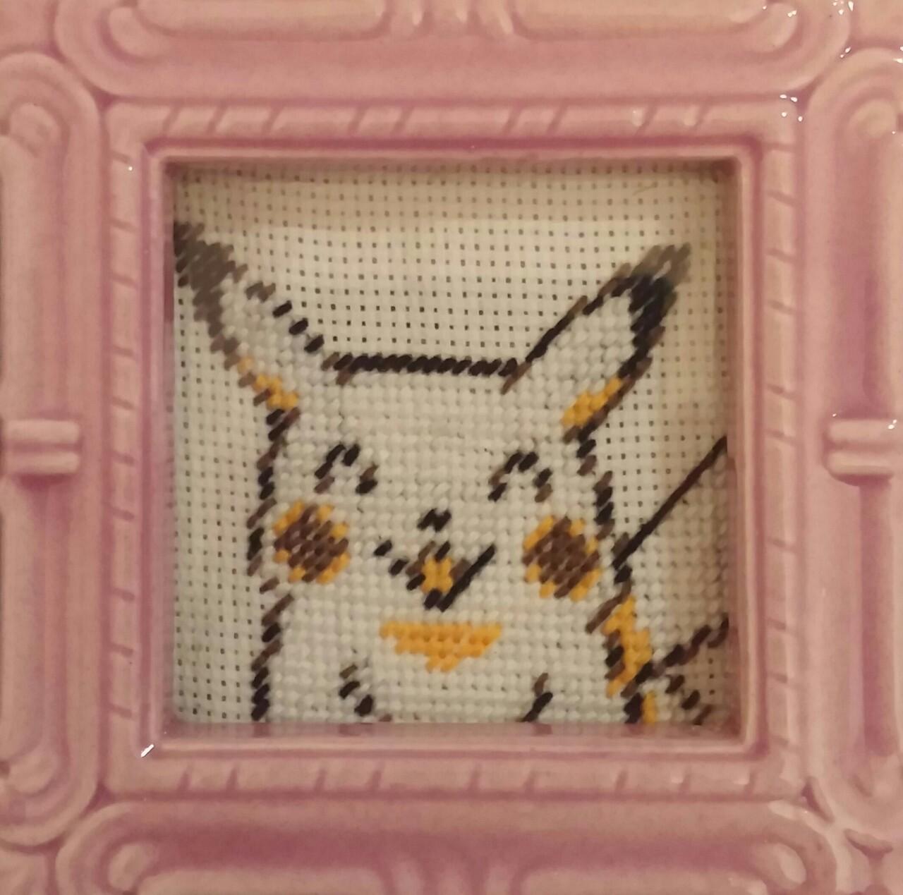 Pikachu Cross Stitch Framed On Storenvy