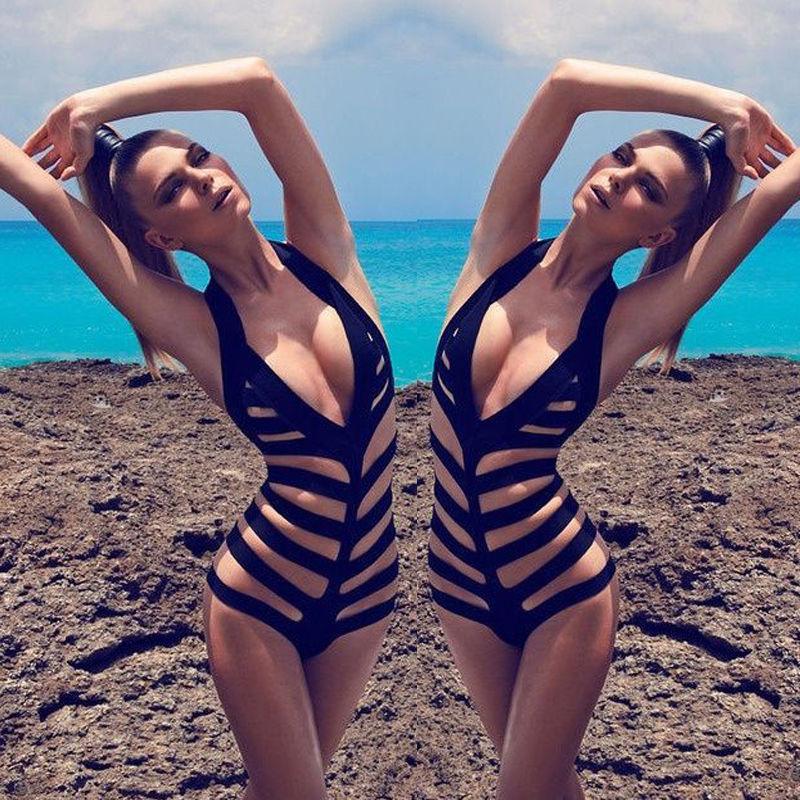a372ae77c5 Sexy one-piece cut out strappy bikini monokini swimsuit