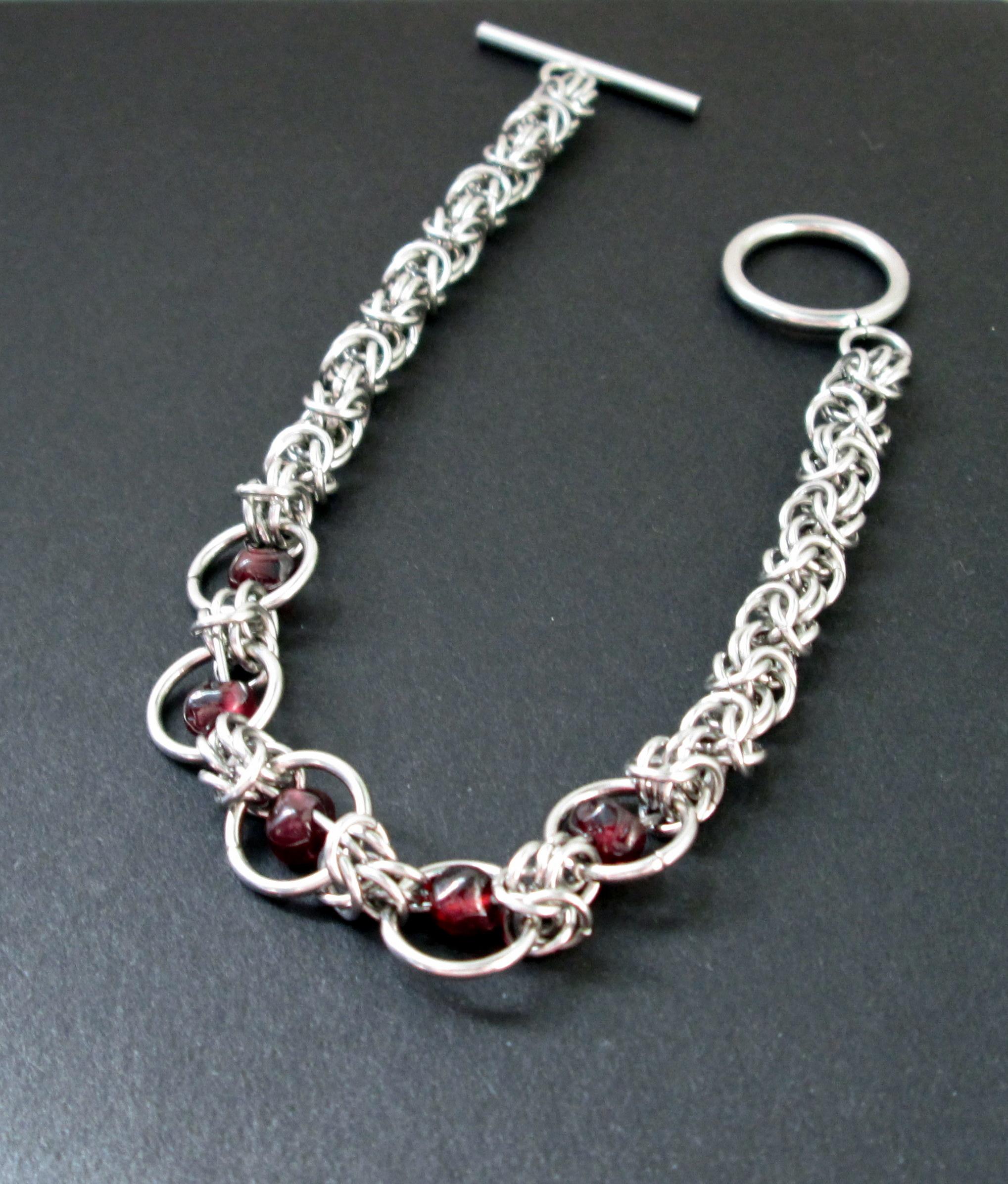 Garnet & Byzantine Chainmaille Bracelet from DeChamp Designs