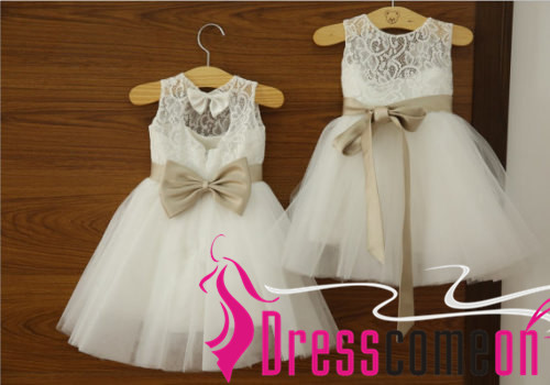 71364749a Cheap Flower Girl Dress Lace Bodice White Beach Baby Flower Girl Dresses