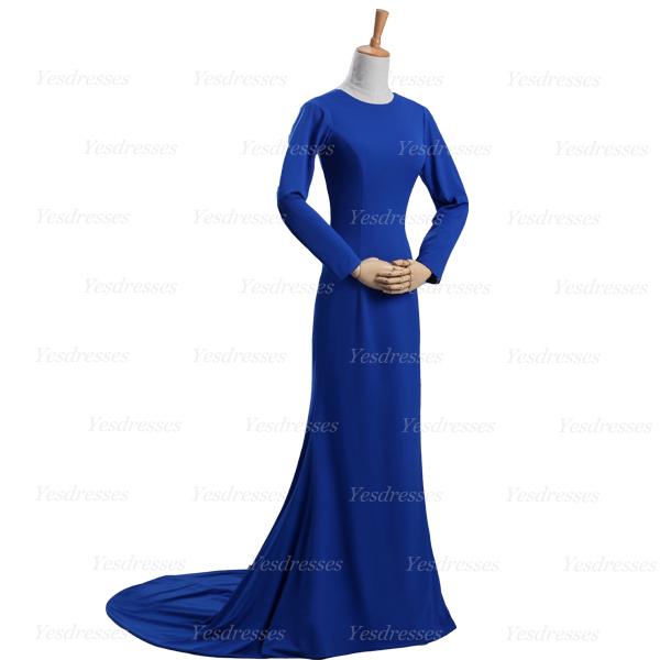 Long prom dress, royal blue prom dress, long sleeve prom dress ...