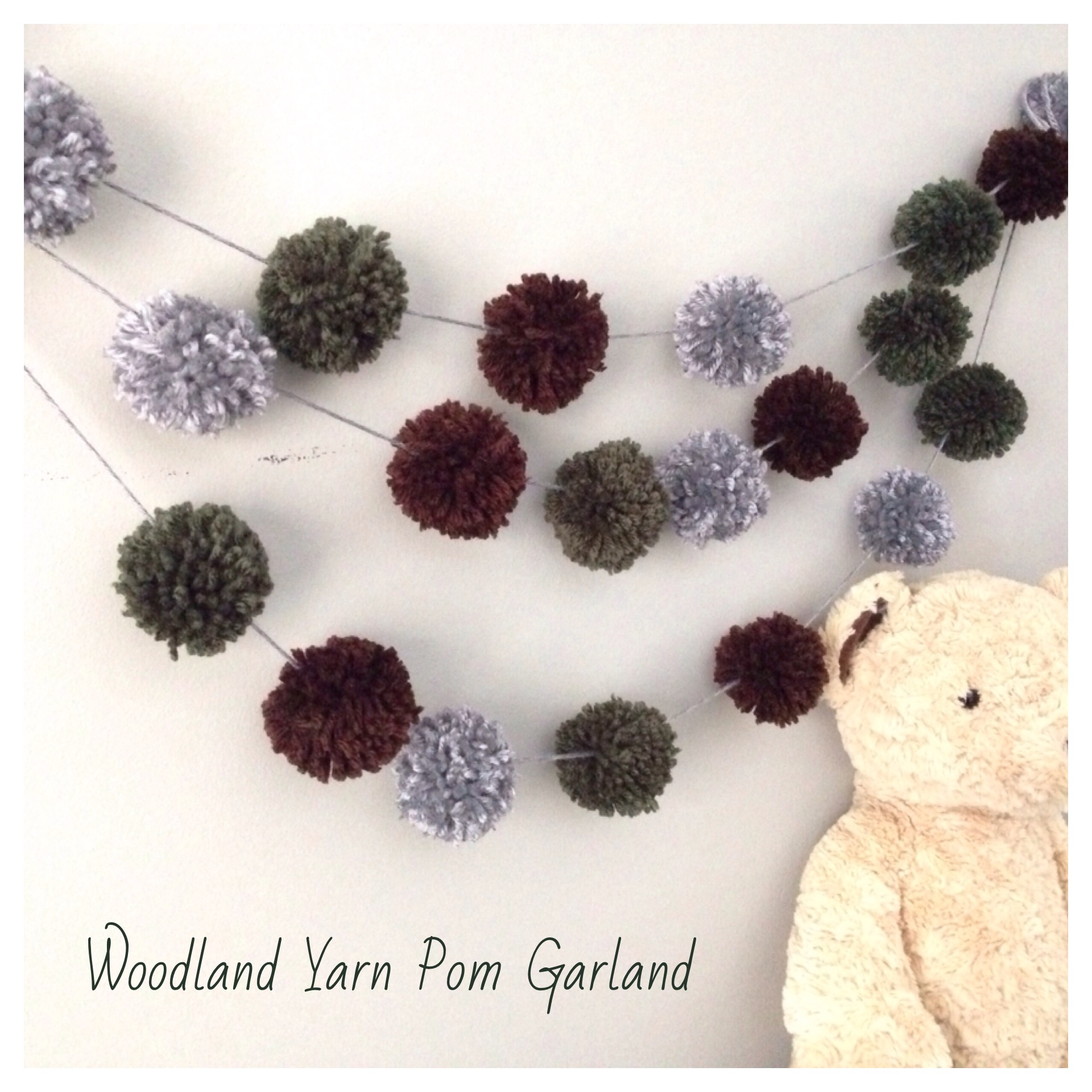 Yarn Pompom Garland Woodland Theme Green Brown Grey Garland Nursery Decor Kids Photoshoot Prop Sold By Atticus Theo On Storenvy