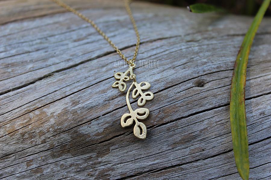 6e952ef25 Premium Matte Gold Leaf Necklace, Laurel Leaf Necklace, Olive Branch  Necklace, Rustic Gold Branch, Hanging Leaf, Dainty Minimal Bridesmaid on  Storenvy