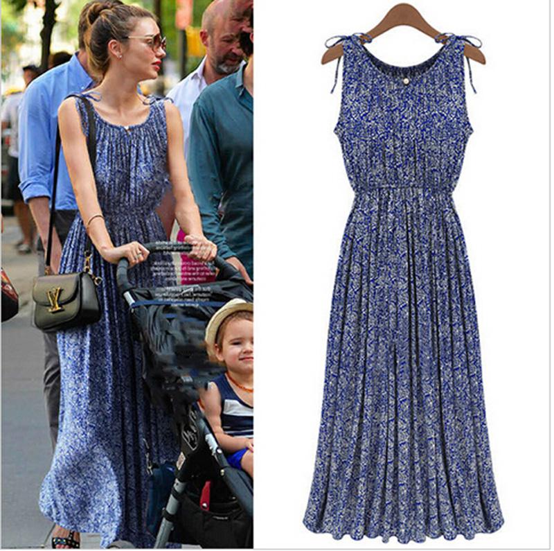 7ec84fc1442 2015 Womens Boho Floral Maxi Dress Casual Vintage Summer Sleeveless ...