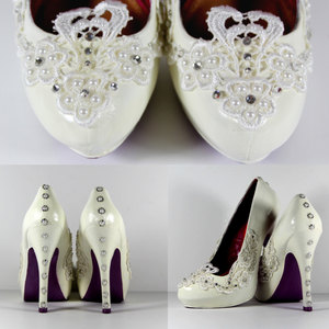 8c4f03b79 Lace Heels Hand Painted and Embellished with Swarovski Crystals and pearls