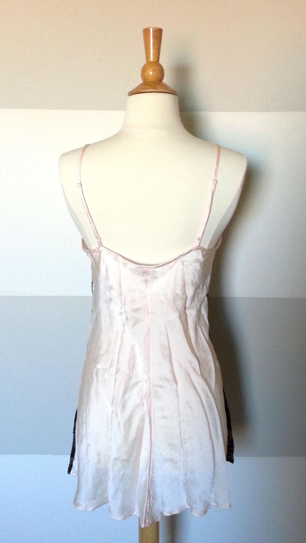 86d163437 100% Silk Blush Pink and Black Lace Sheer Boudoir